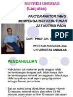 Ilmu Nutrisi Unggas Lanjutan Factors Affecting Nutrient Needs