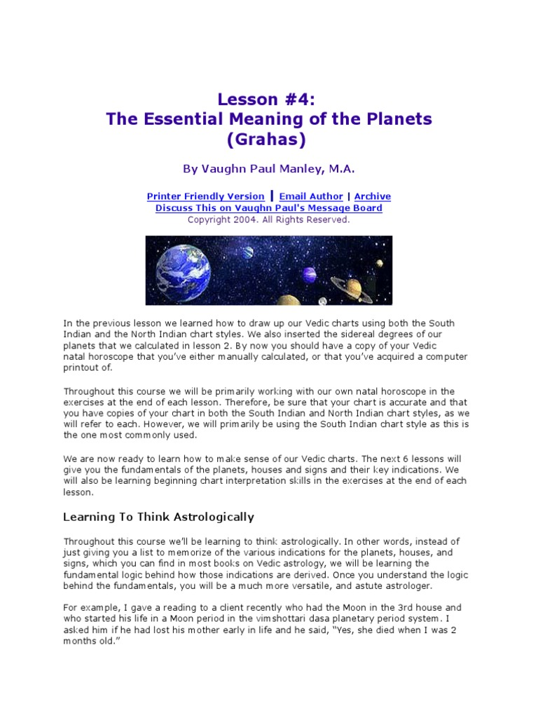 Lesson on Astrology - Planets | Planets In Astrology