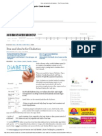Dos and Don'Ts for Diabetics - The Times of India