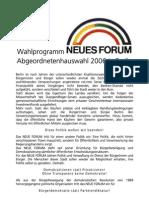 2006_NEUES FORUM Berlin_Abgeordnetenhaus-Wahlprogramm