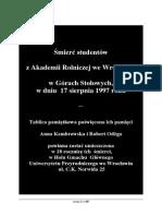 Śmierć Studentów z AR We Wrocławiu w Górach Stołowych w Dniu 17-08-1997 r. Tablica Pamiątkowa