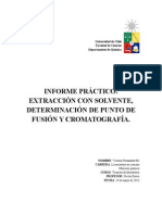Extracción con solvente, determinación del punto de fusión y cromatografía