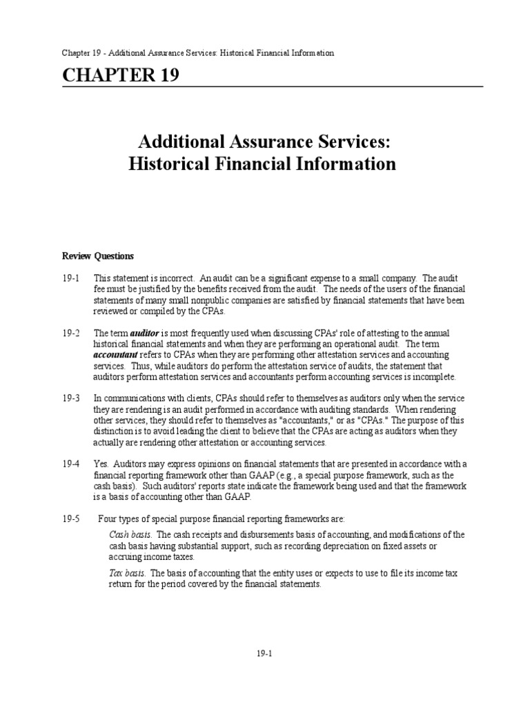 chapter 19 solution manual financial audit auditor s report rh scribd com Principles of Auditing Textbook Principles of Auditing Test Bank