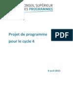 Projet de réforme des programmes scolaires de la 5e à la 3e (Cycle4)