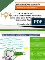 De la ZEE  a la Política Territorial Regional como base para la Planificación Económica Regional  -Experiencia San Martin