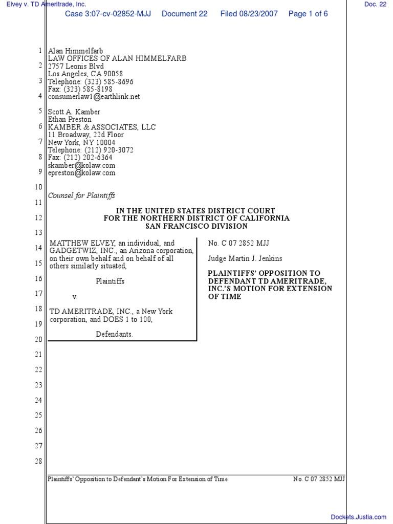 Elvey v  TD Ameritrade, Inc  - Document No  22 | Lawsuit