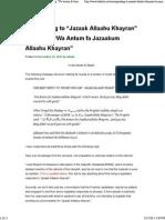 "Responding to ""Jazaak Allaahu Khayran"" by Saying ""Wa Antum Fa Jazaakum Allaahu Khayran"" _ Bakkah.net"