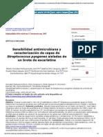 Salud Pública de México - Sensibilidad antimicrobiana y caracterización de cepas de Streptococcus pyogenes aisladas de un brote de escarlatina