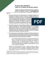 Plataforma EPU HONDURAS reitera su compromiso con la defensa de derechos humanos
