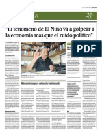 13-04-2015 - Gestión - El Fenomeno Del Niño Impactará Más Que El Ruido Politico