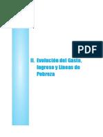 Evolución del gasto ingreso y linea de pobreza