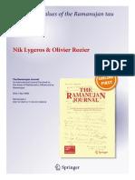 Ramanujan Tau Function Lygeros Rozier