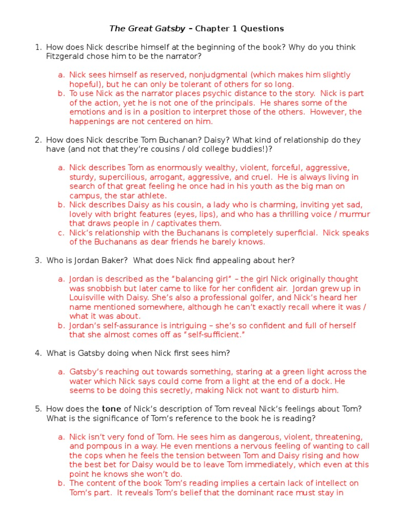 Gatsby Questions Answer Key 2013 The Great Gatsby