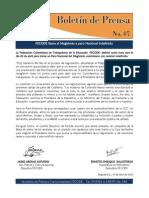 BOLETIN DE PRENSA N° 07 de 2015