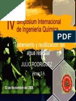 """Simposium Internacional de Ingenieria Quimica.tratamiento y Reutilización Del Agua Residual"""".2008."""