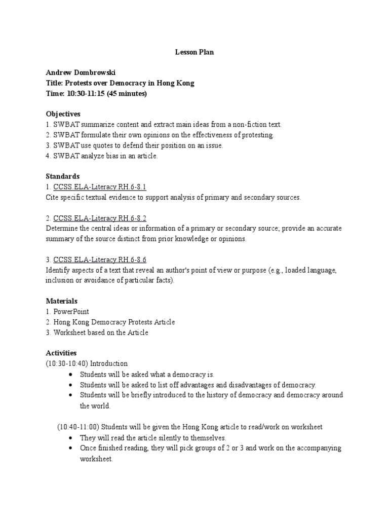 hong kong lesson plan Lesson Plan – Primary and Secondary Sources Worksheet