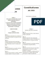 Constitutiunea Din 1866 Comparativ Cu 1923