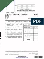 [spmsoalan]Soalan SPM 2014 Physics Paper 3 (Kertas 3 Fizik)