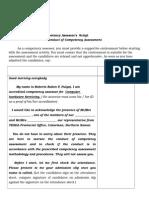 Competency Assessor's Script