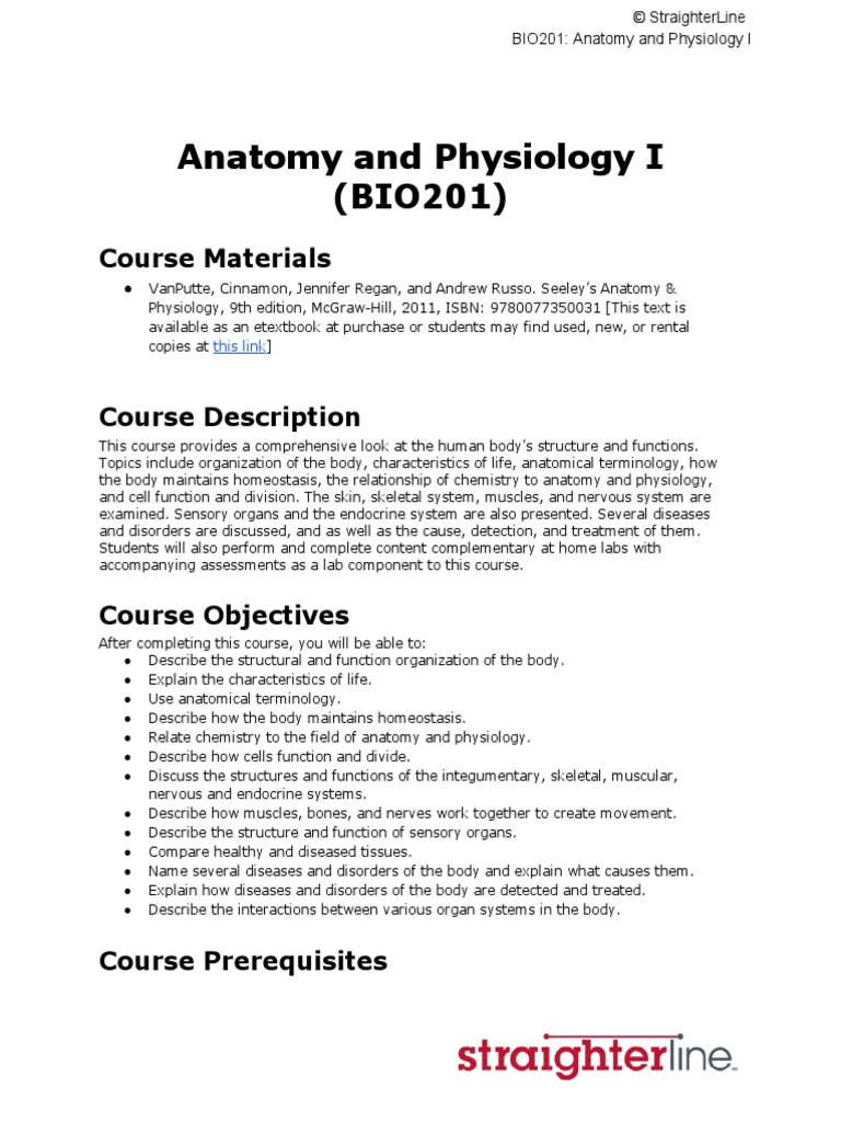 Anatomy and Physiology I (BIO201) Course Materials | Hormone ...