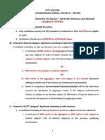Admission 2014-15 Eligibility Criteria