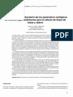 Determinación en Laboratorio de Los Parámetros Reológicos de Mezclas de Agua-sedimentos Para El Cálculo de Flujos