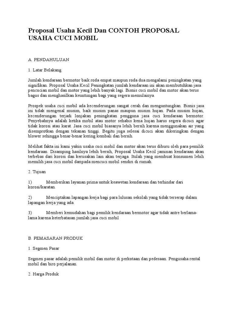 Proposal Usaha Kecil Dan Contoh Proposal Usaha Cuci Mobil Doc