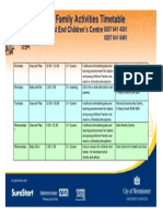 West End CC Family Activities Timetable April 2015