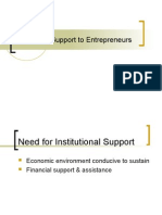 Institutional Support to Entrepreneurs