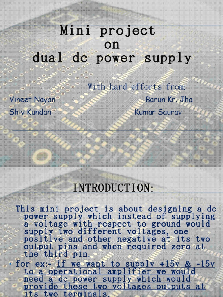 Dual Powersupply Power Supply Rectifier Dc Supplies Introduction