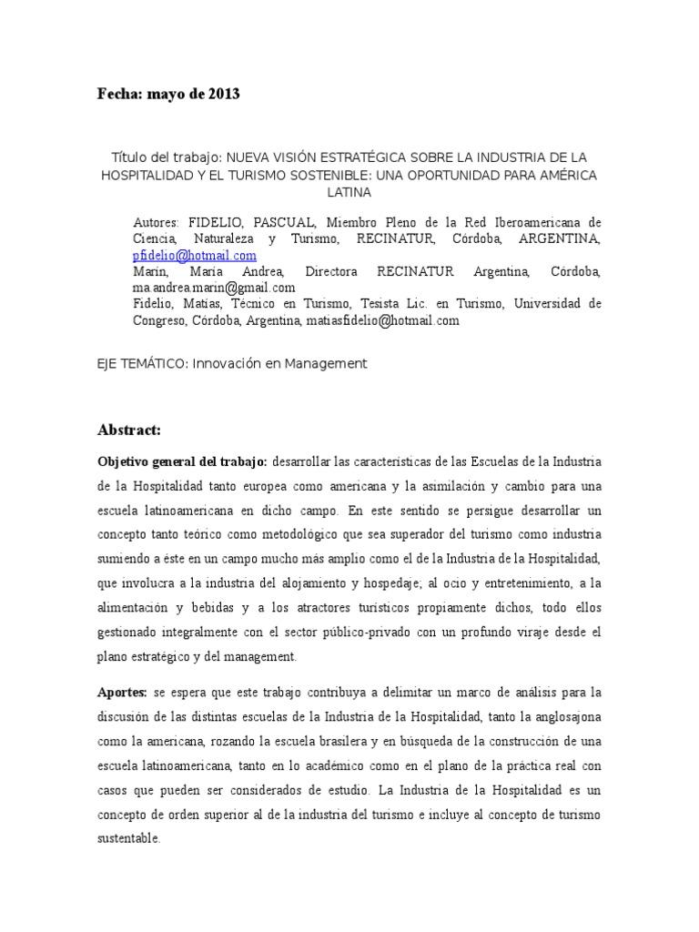 Abstract Slade 2013 Industria de La Hospitalidad FIDELIO