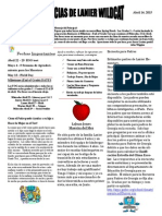 April 2015 Newsletter Spanish