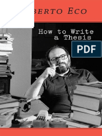 How to Write a Thesis - Umberto Eco & Caterina Mongiat Farina & Geoff Farina & Francesco Erspamer