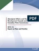AANDC Reports on Plans and Priorities