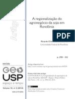 A Regionalização Do Agronegócio Da Soja Em Rondônia