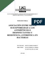 ASOCIACIÓN ENTRE MENOR SUSCEPTIBILIDAD A LOS ANTISÉPTICOS O DESINFECTANTES Y RESISTENCIA ANTIBIÓTICA EN BACTERIAS
