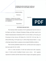 American Cable Ass'n - Open Internet Order Petition for Review (4.14.15)...
