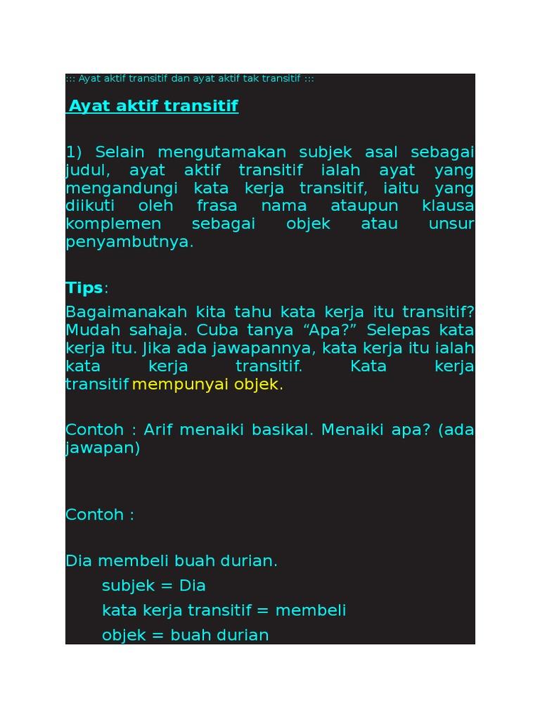 Ayat Aktif Transitif Dan Ayat Aktif Tak Transitif