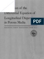 A Solution of Differential Equation of Longitudinal Dispersion in Porous Media