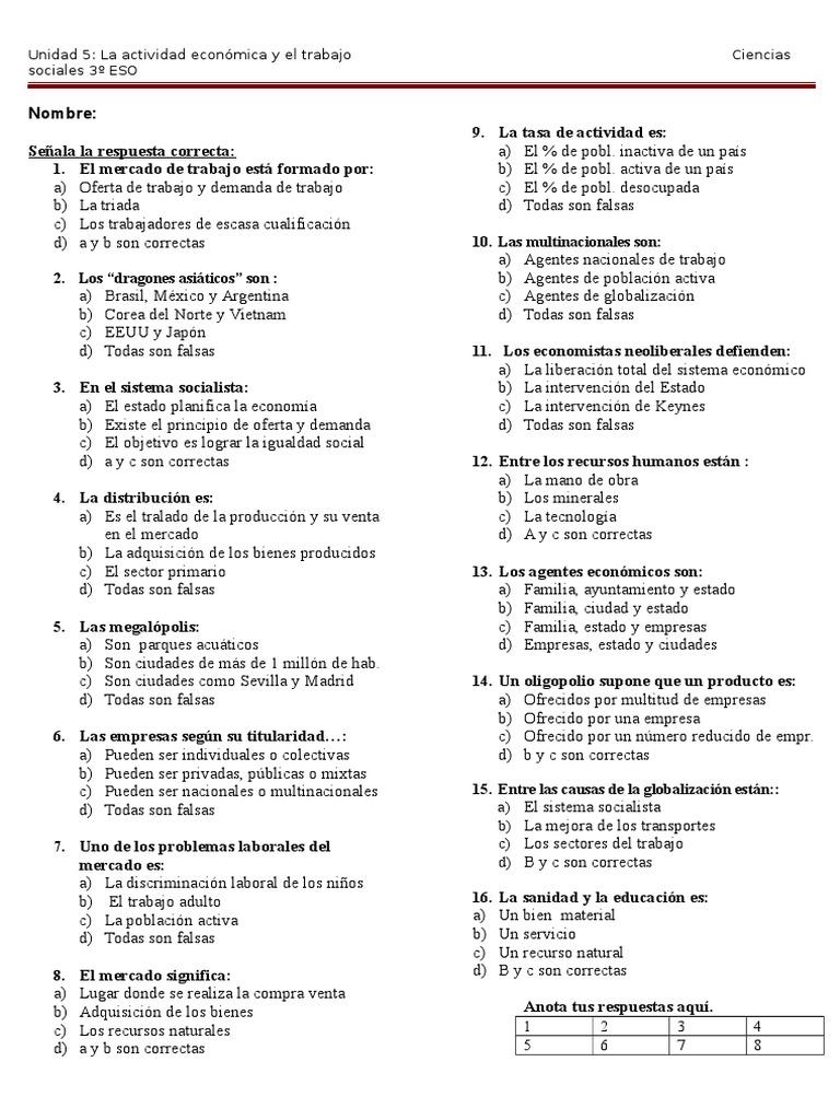Examen Unidad 5  3º ESO