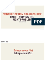 Venture Design Crash Course Solving the Right Problem
