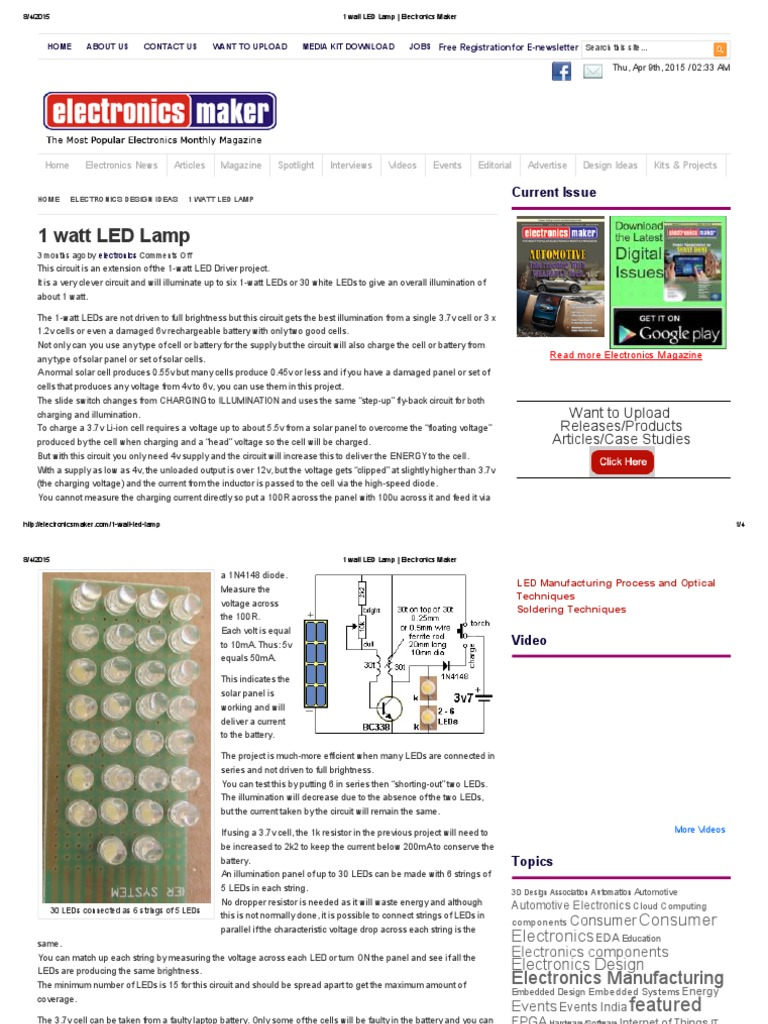 1 Watt Led Lamp Electronics Makerpdf Light Emitting Diode Circuit And Projects Series Parallel Circuits