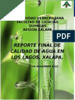 Reporte de calidad de agua los lagos xalapa