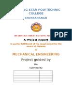 Hydraulic Sheet Cutting Report