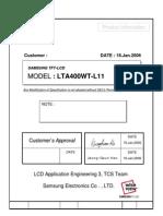SAMSUNG LTA400WT-L11 LCD PANEL DATASHEET