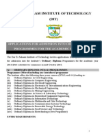 Application for Ordinary Diploma Admissions Dit - 2015-2016