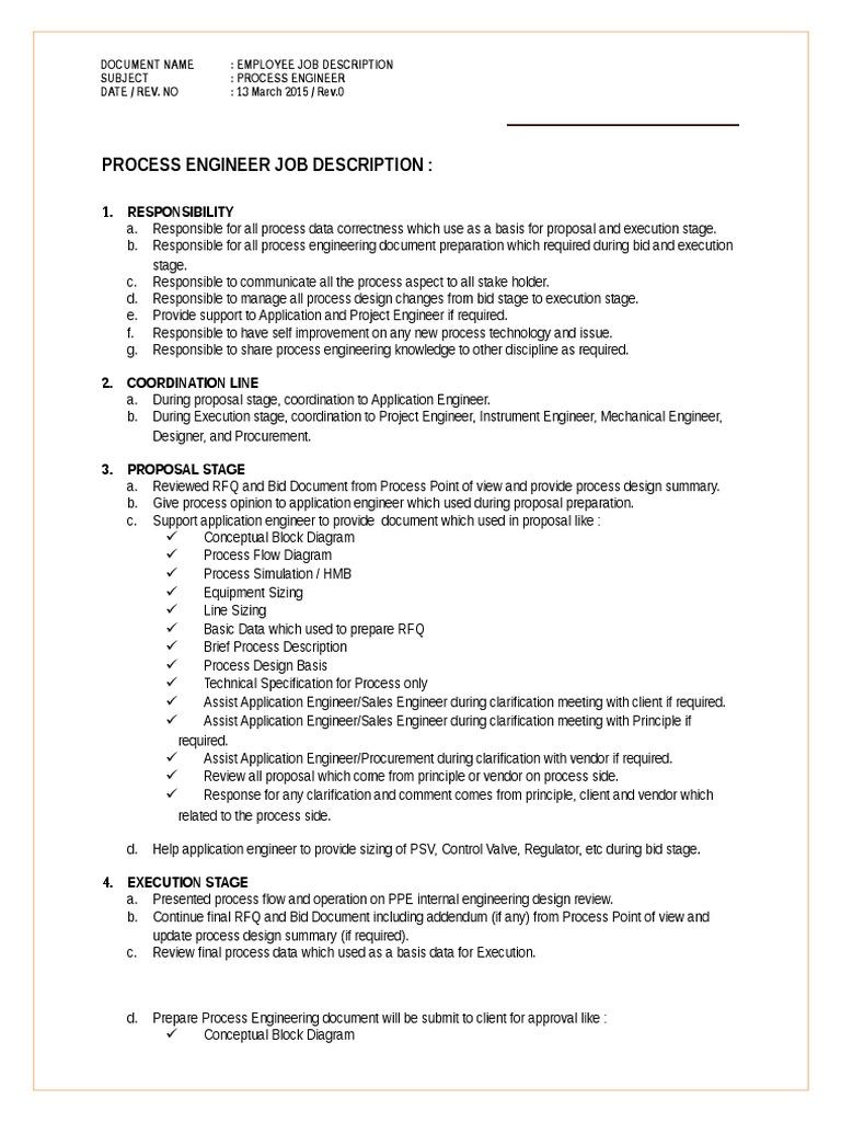 Process Engineer Job Desc   20   PDF   Engineer   Process Engineering