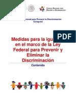 Medidas para la igualdad en el marco de la Ley Federal para Prevenir y Eliminar la Discriminación la Discriminación