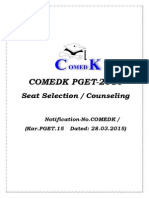 COMEDK PGET 2015 Counselling Procedure