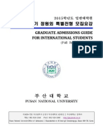 Graduate Admissions Guide for International Students Fall Semester 2015 of Pusan National University